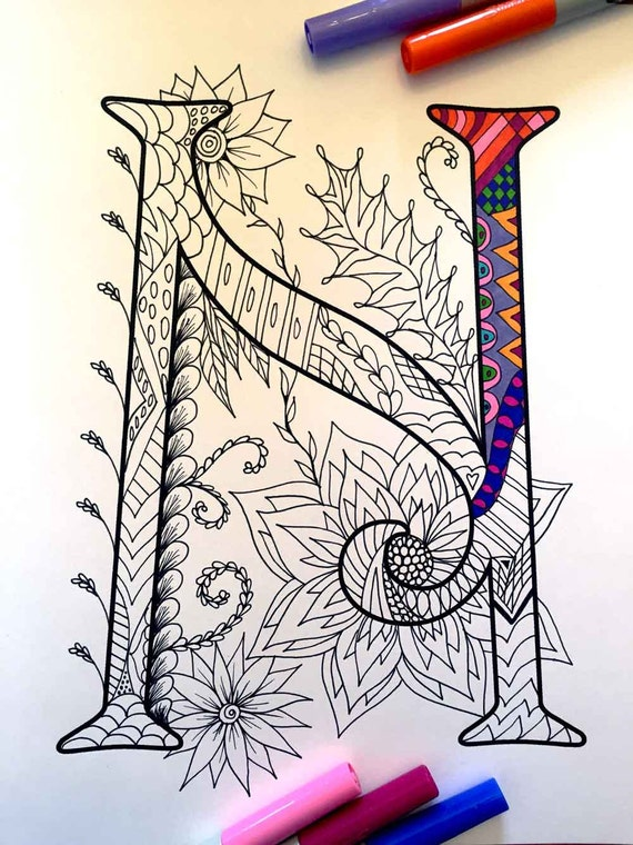 Letter N Zentangle Inspired by the font