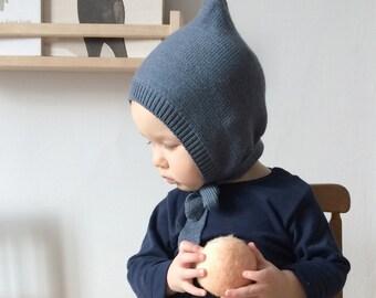 Blue Pixie hat 100% Merino wool