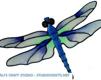Large Dragonfly Handpainted Window Cling - get the look of stained glass  (Ref 462)