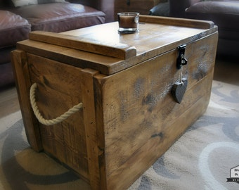 Rustic Wooden Chest Trunk Blanket Box Shabby Vintage Coffee Table Ottoman