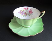 Vintage SHELLEY England Fine Bone China Atholl Footed Cup Teacup Stratford Saucer Set Mint Green Gold Trim Pink Purple White Flowers Floral