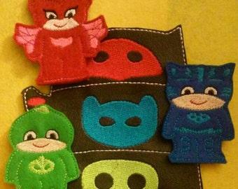 Bedtime hero finger puppets. Pj masks inspired