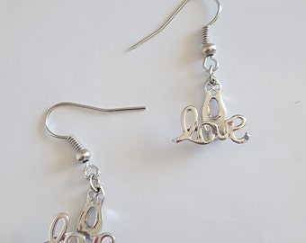 Handcrafted Earrings, LOVE Earrings, Silver Earrings, Silver Love, Acrylic Earrings, Dangle Earrings, Birthday Gift, Teenager Gift