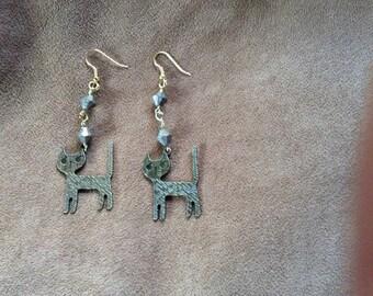 Golden Cat Dangly Earrings