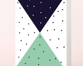 Modern triangle greeting card, graphic card, minimalist card, mint
