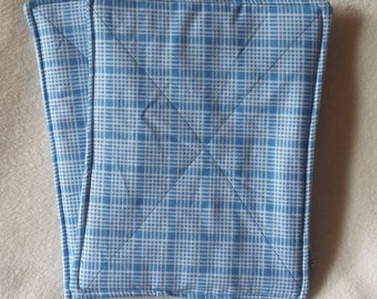 """Blue Plaid Quilted Pot Holders - Set of Two 7"""" x 8"""""""
