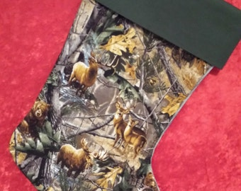 Wildlife Camouflage Christmas Stocking With A Green Cuff