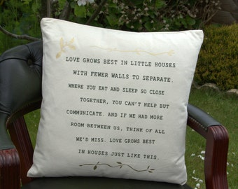 Love grows best in tiny houses..  An Oola-Boola cushion cover.