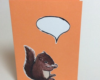 Speech bubble greeting card- Squirrel- Blank- Size A6- Watercolor and ink