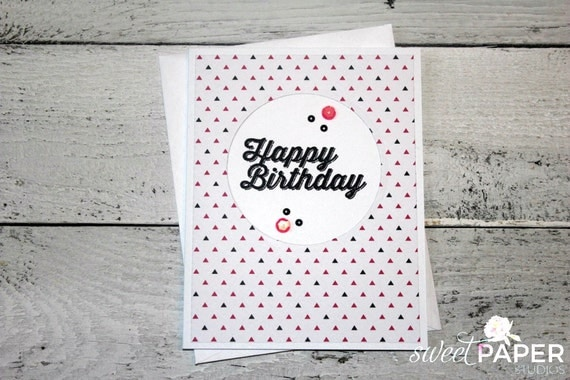 Stampin' Up! Birthday Card, Pretty in Pink Collection, Feminine Birthday Card, Black and Pink Greeting Card, Pink Triangle Birthday Card