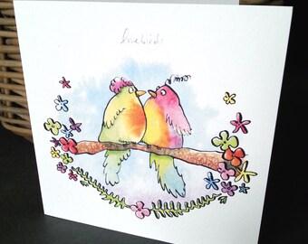 Lovebirds Card, Greetings Card, Blank Card, Lovebirds, Lovebird Art, Quirky Bird Card, Bird Lover Card, Cheerful Wedding Card, Couples Card
