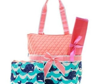 Quilted Whales Monogrammed Diaper Bag, Monogrammed Tote,Monogrammed Gifts, Personalized Diaper Bag
