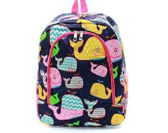 Whales Backpack, Monogrammed Backpack, Monogrammed Bookbag, Personazlied Backpack, Personalized Bookbag, Bookbag, Backpack