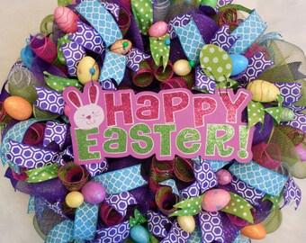 Easter Wreath, Easter Egg Wreath, Easter wreaths, happy Easter wreath, Easter decoration, Easter Wreath, mesh Easter wreath