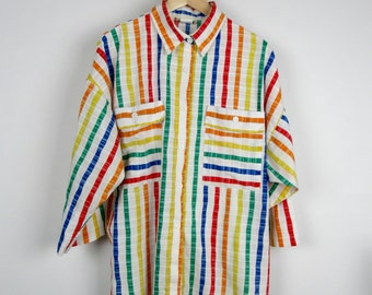 Vintage Striped Shirt / 60s 70s Boxy Women's Cotton Top / Oversized Lightweight Summer Colorful Rainbow / Medium M Large L