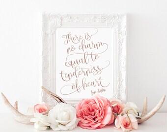 Jane Austen Emma- Rose Gold Print- Book Lovers Print- Romantic Book Quote- Jane Austen Quote