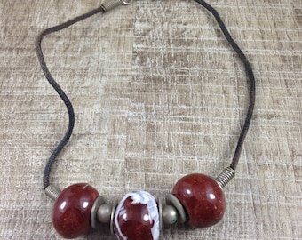 Stunning Vintage Estate Painted Beaded Metal Rope Necklace