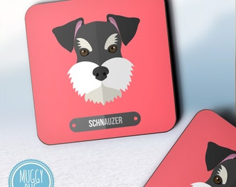 Schnauzer Dog Vector Coasters | Red Schnauzer Pet Dog Lover Gift Cute Present | Set Of 2, 4 or 12 | Made To Order Coasters CO39