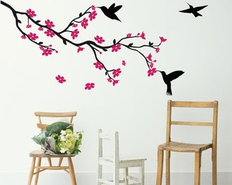 Cherry Blossom Tree Vinyl Wall Decal Sticker available in any combination of 2 colours - from left or right