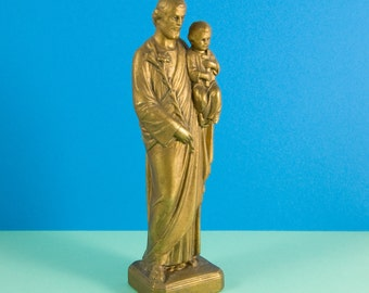 French vintage metal alloy statue of Saint Joseph carrying the Infant Jesus