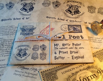 Hogwarts Acceptance Letter with Hogwarts Express Gold Ticket and Original Wax Seal - Personalized Name and Address