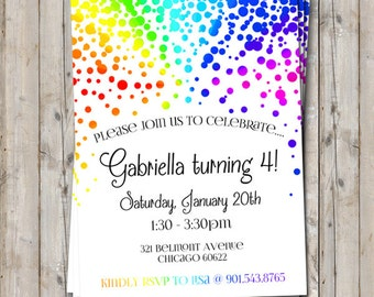 Rainbow birthday invitation personalized for your party - digital / printable DIY girls birthday invite