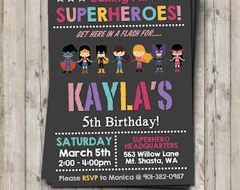 GIRL superhero birthday invitation personalized for your party - digital / printable DIY girls superhero invitation