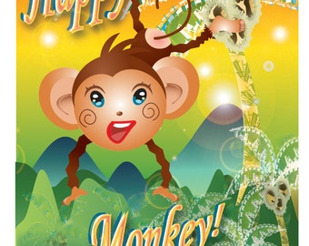 Personalised and Printable Cheeky Monkey Birthday Card