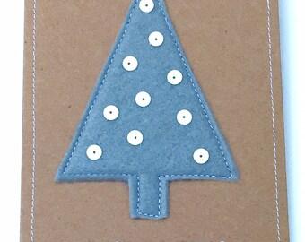 Felt and Sequin Christmas Tree Appliqué Card