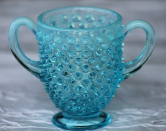 Blue Fenton Hobnail Sugar Bowl