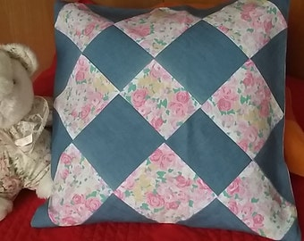 Patchwork pillowcase jean/rose