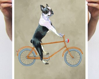 French Bulldog painting, print from original painting by Coco de Paris: French Bulldog on bicycle