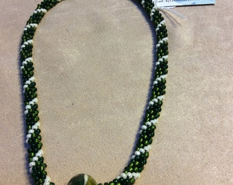 """Kumihimo with lampworked glass bead green & white  17"""""""