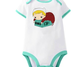 Adventure Time Baby Finn and BMO Onesie Bodysuit Romper