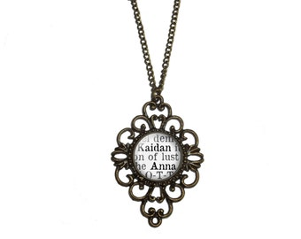 Sweet Evil Necklace, 'Kaidan and Anna', Wendy Higgins, Sweet Trilogy, Book Page Necklace