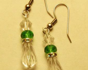 Green and Clear Teardrop Earrings