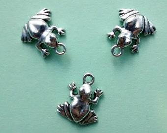 10 Frog Charms Silver - CS2003