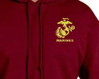 Custom Embroidered Hoodie with Marine logo