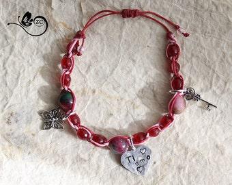 macrame bracelet/bracelet macrame bracelet/heart/I love you/aledi/custom bracelet/