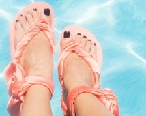 Beach party flip flops, Gladiator Sandals, coral sandal, Greek sandals, wrap around sandals, sandals with bow, custom flip flops