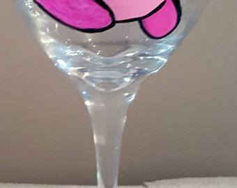 Nintendo Kirby Inspired Hand Painted Wine Glass