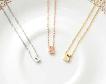 Lower case Initial Necklace, Rose gold initial Necklace, Custom Alphabet Necklace, Simple Necklace, Personal Necklace, Friendship Gift