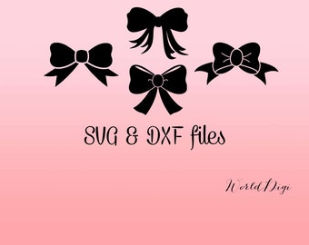 Bows SVG DXF Files, Bow Cricut svg files, dxf for silhouette, Nursery Cut Files, Monogram Bows Princess party DIY Bows Digital Vinyl Project