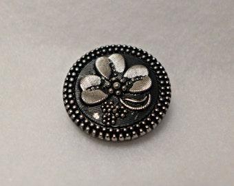 Czech glass button - black - 27mm