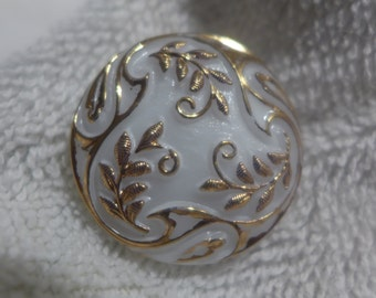 Czech glass button, white and gold, 27mm