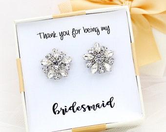 Wedding Earrings Rhinestones Earrings Bridal Earrings Bridesmaid Earrings Bridal Jewelry Wedding Accessory Bridal Accessory Daisy