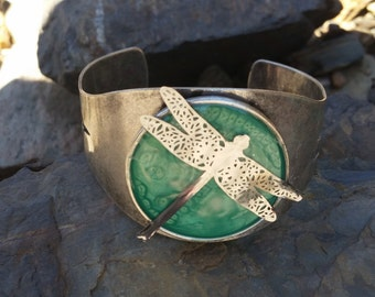 Sage Dragonfly Cuff Bracelet / one of a kind