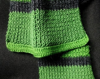 Light charcoal gray wool scarf Apple green