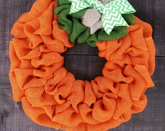 Pumpkin wreath burlap wreath Fall wreath Autumn wreath Thanksgiving wreath Halloween wreath orange wreath burlap pumpkin