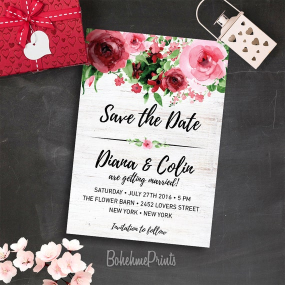 electronic save the date template - printable save the date floral save the date template digital